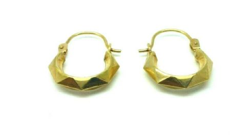 9ct Yellow Gold Vintage Victorian Style Faceted Small Creole Hoop Earrings